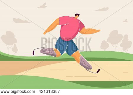 Athlete With Artificial Legs Taking Part In Race. Flat Vector Illustration. Disabled Man Running Mar