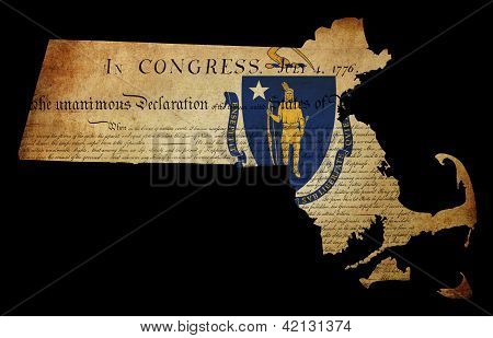 Usa American Massachussetts State Map Outline With Grunge Effect Flag Insert And Declaration Of Inde