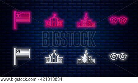 Set Line United States Capitol Congress, City Landscape, American Flag And Glasses With Stars. Glowi