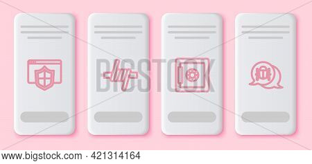 Set Line Browser With Shield, Barbed Wire, Safe And System Bug. White Rectangle Button. Vector