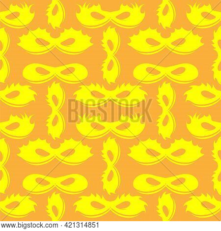 Silhouette Of Masks Seamless Pattern. Symbol Of Masquerade