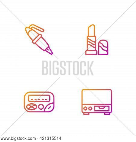 Set Line Old Video Cassette Player, Pager, Fountain Pen Nib And Lipstick. Gradient Color Icons. Vect