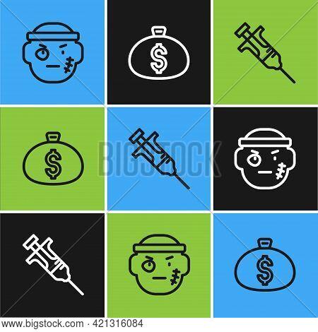 Set Line Bandit, Syringe And Money Bag Icon. Vector