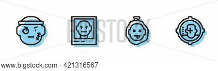 Set Line Murder, Bandit, Wanted Poster And Headshot Icon. Vector