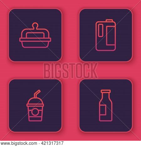 Set Line Butter In A Butter Dish, Milkshake, Plastic Bottle And Bottle With Milk. Blue Square Button