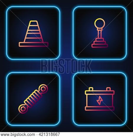 Set Line Car Battery, Shock Absorber, Traffic Cone And Gear Shifter. Gradient Color Icons. Vector