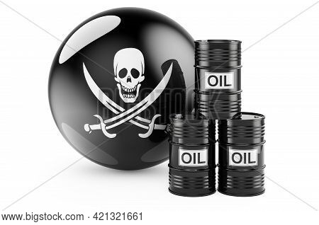 Barrels With Piracy Flag. 3d Rendering Isolated On White Background