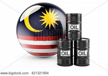 Oil Barrels With Malaysian Flag. Oil Production Or Trade In Malaysia Concept, 3d Rendering Isolated