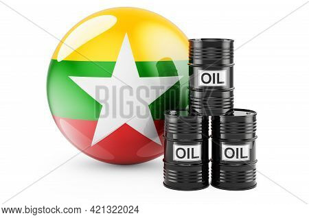 Oil Barrels With Myanmar Flag. Oil Production Or Trade In Myanmar Concept, 3d Rendering Isolated On