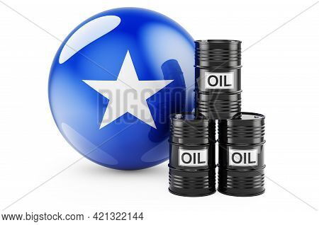 Oil Barrels With Somali Flag. Oil Production Or Trade In Somalia Concept, 3d Rendering Isolated On W