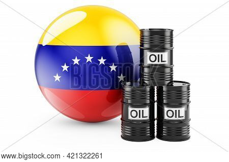 Oil Barrels With Venezuelan Flag. Oil Production Or Trade In Venezuela Concept, 3d Rendering Isolate