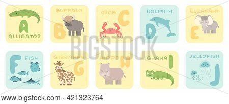 Cute A-j Alphabet Cards With Cartoon Rainforest Jungle African Animals. Vector Zoo Illustrations. Al