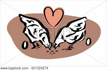 Logo For Farmers. Two Young Hens Peck At The Grain And Lovingly Give Away The Eggs. Color Logo, Vect