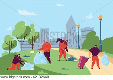 Volunteers Cleaning City Street Or Park From Garbage. Flat Vector Illustration. Happy People Gatheri