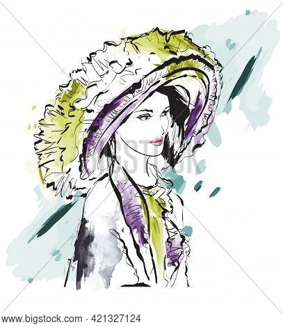 Beautiful Young Woman In A Hat. Aristocrat Girl Fashion Sketch. The Model Is Posing. Woman Star.