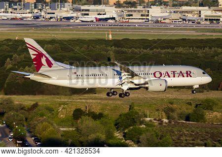 Madrid, Spain - May 1, 2016: Qatar Airways Passenger Plane At Airport. Schedule Flight Travel. Aviat