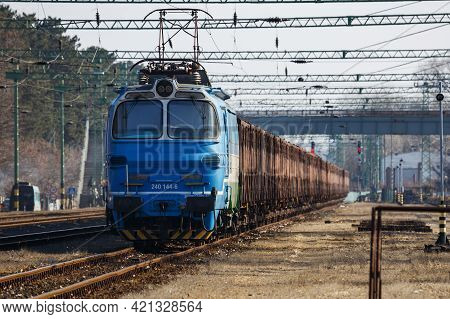Siofok, Hungary - February 28, 2021: International Train Transportation. Cargo Freight Train Wagon A
