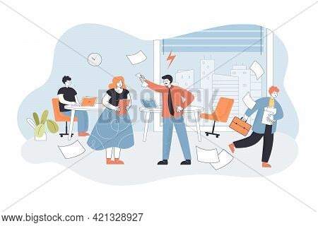 Angry Boss Shouting At Workers In Office. Flat Vector Illustration. Nervous Boss Unsatisfied With Wo