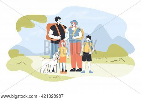 Happy Family Hiking Together Outdoors. Flat Vector Illustration. Mother, Father, Children With Dog W