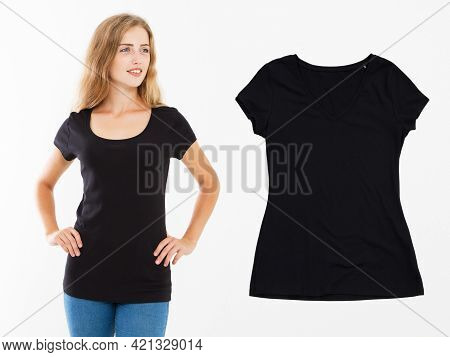 Woman In Black T-shirt Mock Up Isolated, T Shirt Female, Blank Tshirt