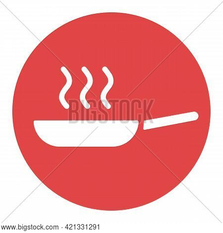 Frying Pan Vector White Glyph Icon. Kitchen Appliance. Graph Symbol For Cooking Web Site Design, Log