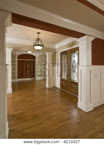 Luxury Home Interior Foyer Stained Glass Door