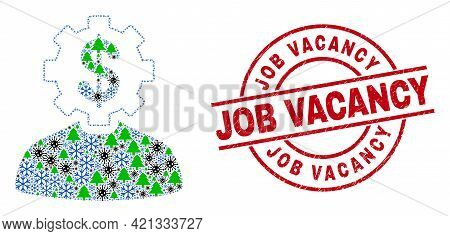 Winter Coronavirus Composition Banker Gear Person, And Distress Job Vacancy Red Round Stamp Print. C