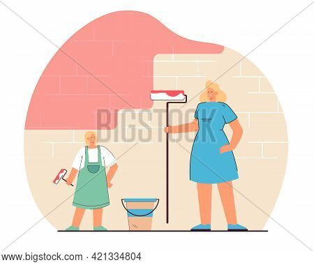 Mother And Daughter Painting Wall. Flat Vector Illustration. Woman And Little Girl Painting Brick Wa