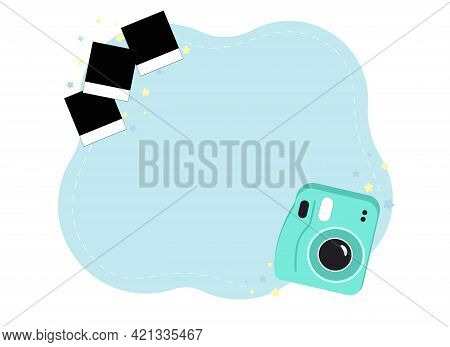 Memories Photo Concept. Instant Camera With Photos And Stars. Vector Illustration