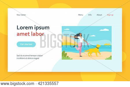 Happy Woman Walking Dog On Leash Outdoors. Girl With Pet Near Lake, Landscape, Water Flat Vector Ill