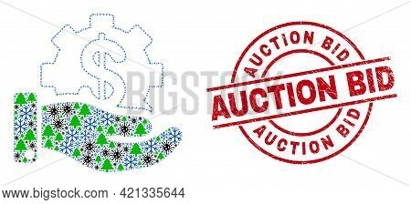 Winter Covid-2019 Collage Financial Service Offer, And Dirty Auction Bid Red Round Stamp Imitation.