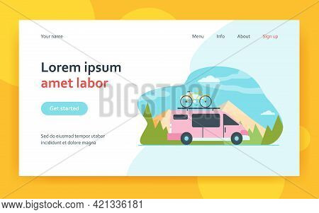 Minivan With Bike On Top Moving In Mountain. Vehicle, Transport, Bicycle Trip Flat Vector Illustrati