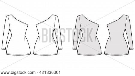 Dress One Shoulder Technical Fashion Illustration With Long Sleeve, Fitted Body, Mini Length Pencil