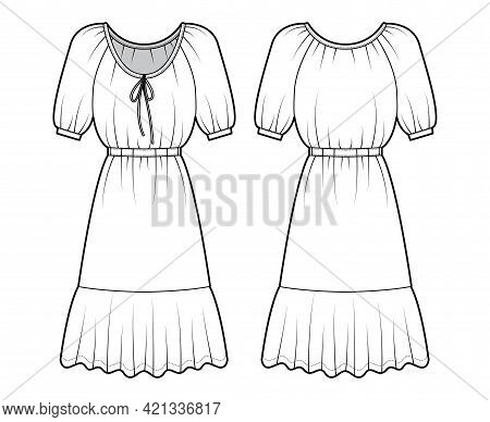 Dress Peasant Technical Fashion Illustration With Elbow Sleeves, Fitted Body, Knee Length Peplum Pen