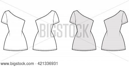 Dress One Shoulder Technical Fashion Illustration With Short Sleeve, Fitted Body, Mini Length Pencil