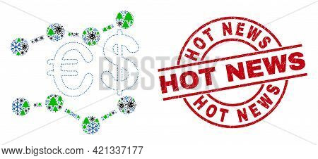 Winter Viral Mosaic Financial Trends, And Scratched Hot News Red Round Stamp Seal. Collage Financial