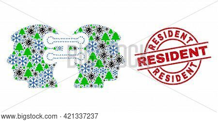 Winter Coronavirus Collage Head Links Integration, And Dirty Resident Red Round Stamp Seal. Collage
