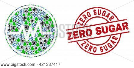 Winter Pandemic Composition Pulse Signal, And Grunge Zero Sugar Red Round Stamp Imitation. Collage P