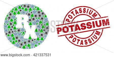 Winter Covid Collage Rx Receipt Symbol, And Distress Potassium Red Round Stamp. Mosaic Rx Receipt Sy