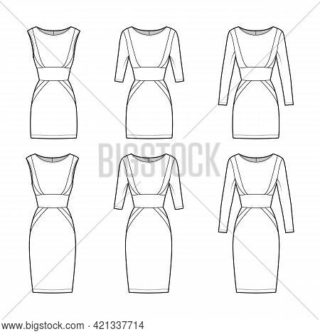 Set Of Dresses Panel Tube Technical Fashion Illustration With Hourglass Silhouette, Long Sleeves, Fi