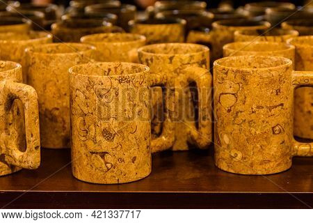 Jasper Stone Cups For Sale At Shop In Turkey. Crockery Made Of Natural Stone