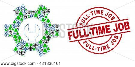 Winter Pandemic Mosaic Repair Options, And Grunge Full-time Job Red Round Stamp Seal. Mosaic Repair