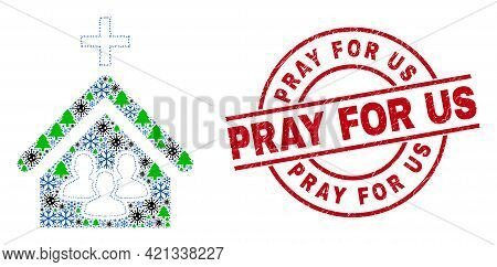Winter Coronavirus Collage Church People, And Textured Pray For Us Red Round Stamp Imitation. Mosaic