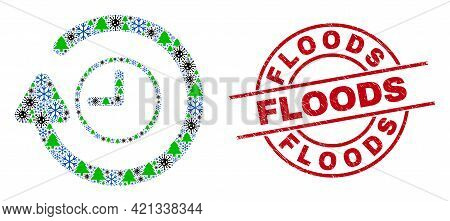 Winter Covid-2019 Mosaic Rotate Clockwise, And Floods Red Round Stamp. Mosaic Rotate Clockwise Is Fo
