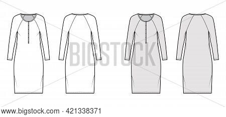 Dress Henley Collar Technical Fashion Illustration With Long Raglan Sleeves, Oversized Body, Knee Le