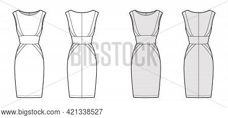 Dress Panel Tube Technical Fashion Illustration With Hourglass Silhouette, Sleeveless, Fitted Body,