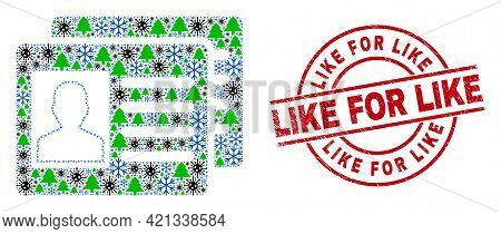 Winter Covid Collage User Id Cards, And Like For Like Red Round Stamp Print. Collage User Id Cards I