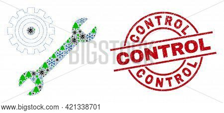 Winter Coronavirus Composition Repair Tools, And Control Red Round Seal. Collage Repair Tools Is For