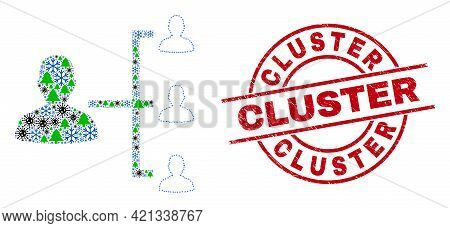 Winter Viral Collage People Hierarchy, And Unclean Cluster Red Round Stamp Seal. Collage People Hier