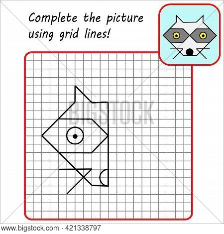 Educational Game For Kids. Simple Exercise Racoon. Drawing Using Grid. Symmetrical Drawing. Vector I